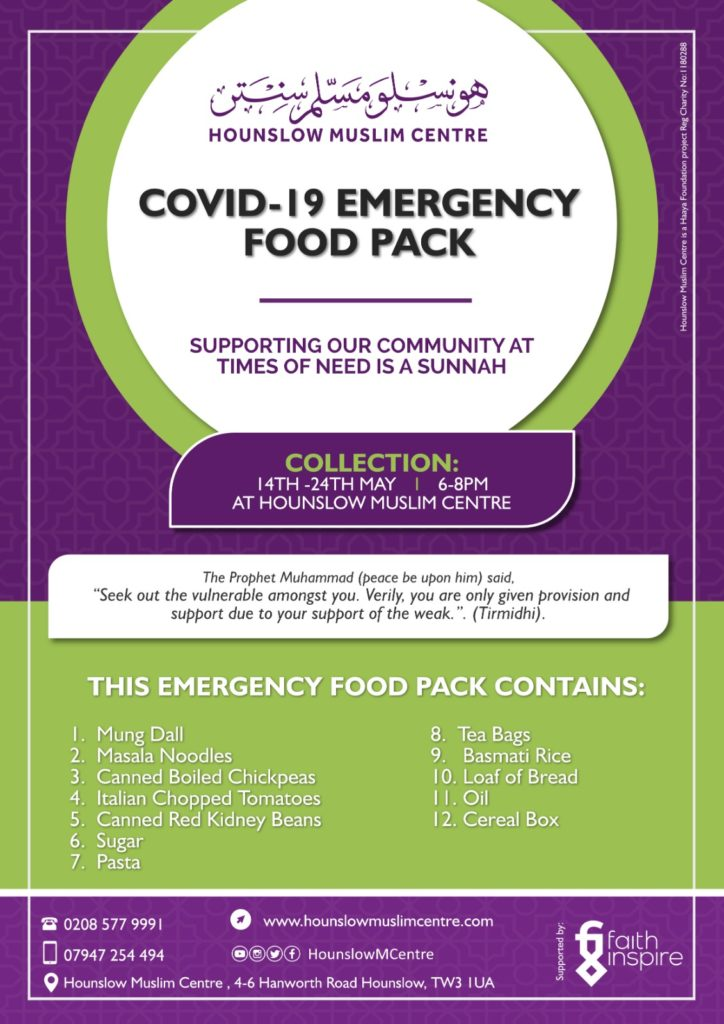 COVID-19 emergency food pack poster